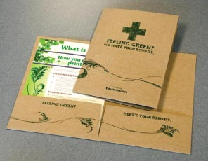 Green printing in New Hampshire, Massachusetts, Maine on pocket folders, business cards, letterhead and envelopes. Call for more details and pricing.